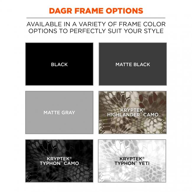 Dagr frame options: available in a variety of frame color options to perfectly suit your style. Swatches for black, matte black, matte gray, Kryptek Highlander Camo, Kryptek Typhon Camo and Kryptek Typhon Yeti.