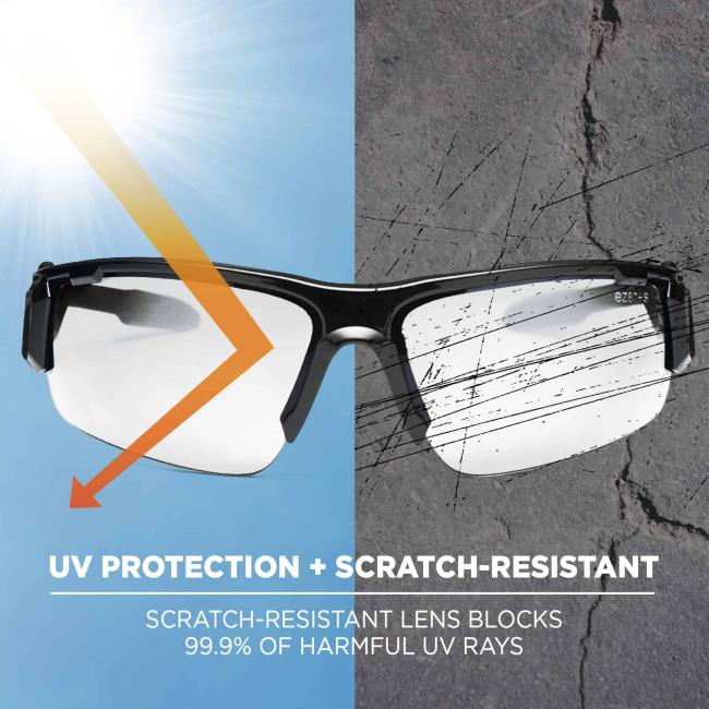 UV protection + scratch resistant: scratch-resistant lens blocks 99.9% of harmful UV rays