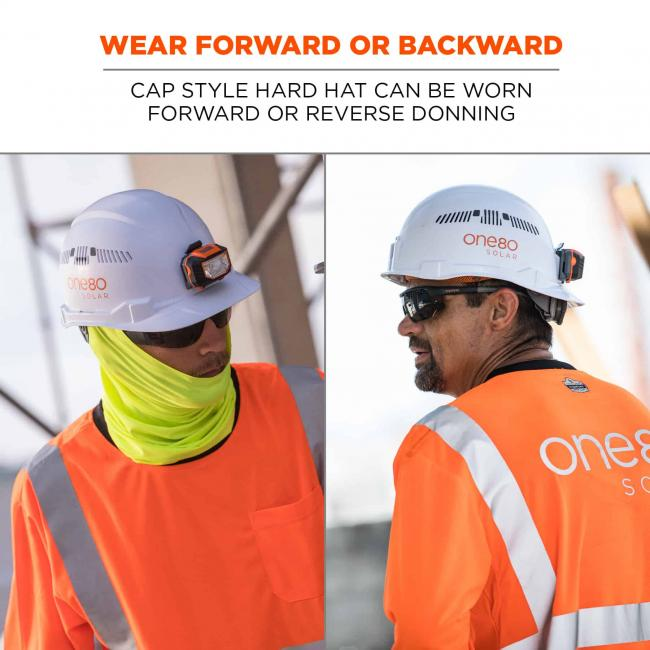 wear forward or backward: cap style hard hat can be worn forward or reverse donning