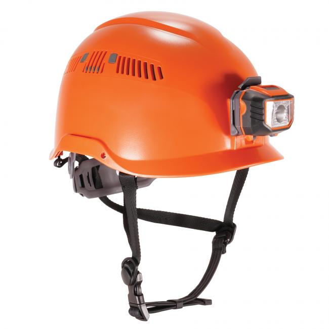three quarter view of orange 8975led safety helmet image 1
