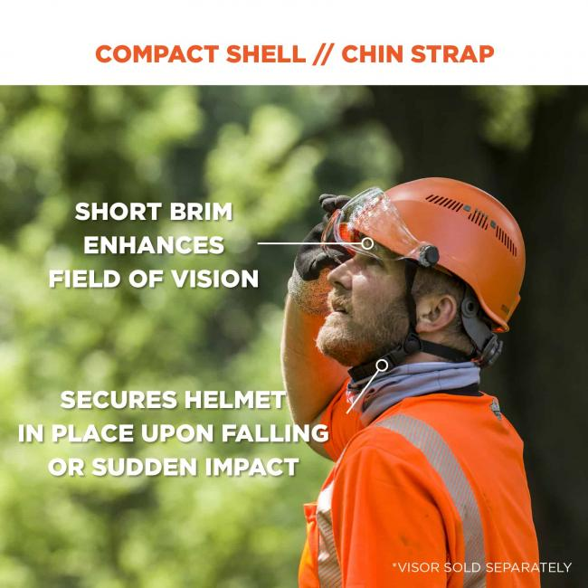 Compact shell/chin strap: short brim enhances field of vision. Secures helmet in place upon falling or sudden impact. *Visor sold separately. image 3