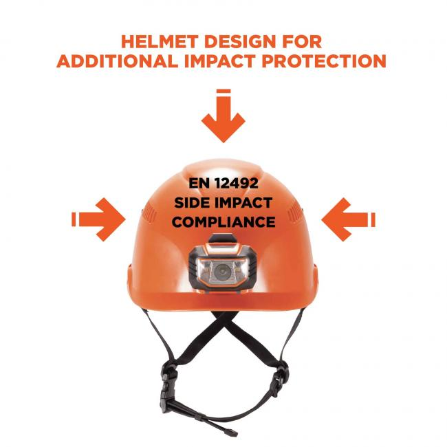 Helmet design for additional impact protection. Arrows pointing to helmet say: EN 12492 side impact compliance image 2