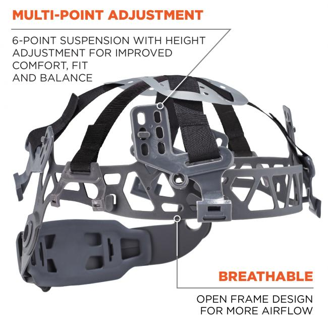Multi-point adjustment: 6-point ratchet with height adjustment for improved fit and balance. Breathable suspension: open frame design for more airflow. image 7