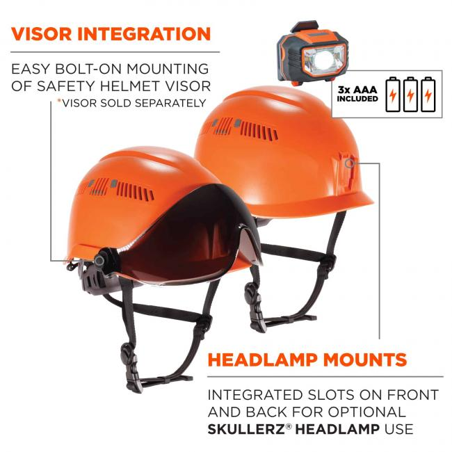 Visor integration: easy bolt-on mounting of safety visor (*visor sold separately). Headlamp mounts: integrated slots on front and back for optional Skullerz Headlamp use. 3x AAA batteries included. image 4