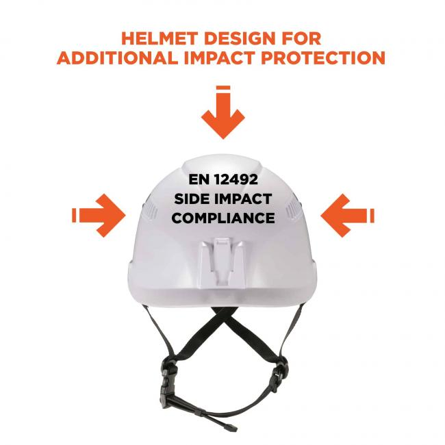 "Helmet design for additional impact protection. Arrows point to all sides of the safety helmet. Text on helmet says ""EN 12492 side impact compliance""."