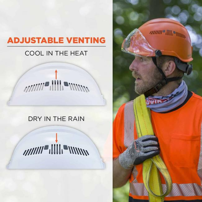 Adjustable venting: cool in the heat, dry in the rain.