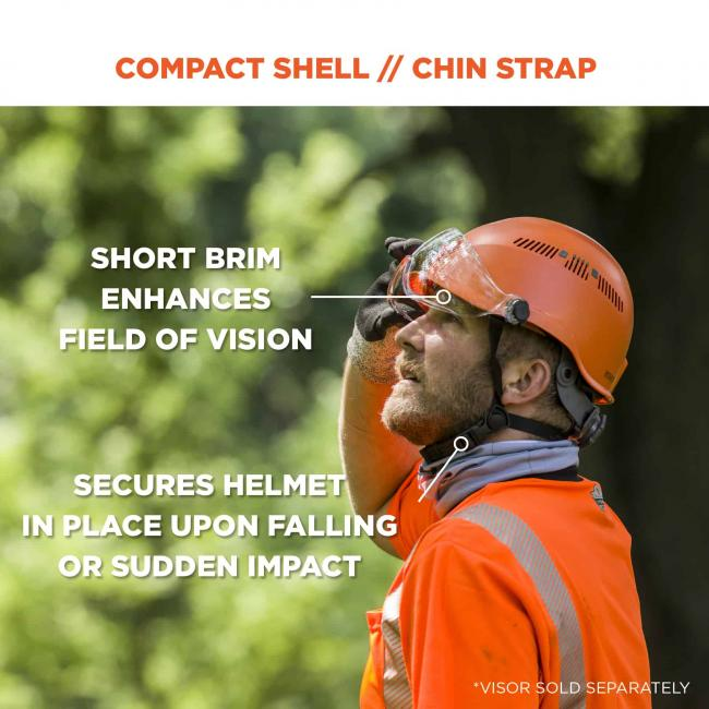 "Compact shell // chin strap. Arrow points to brim and says ""short brim enhances field of vision"". Arrow points to strap and says ""secures helmet in place upon falling or sudden impact"""
