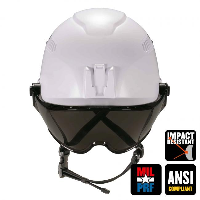 "Front of safety helmet and visor. Icons on bottom right say ""MIL-PRF"", ""Impact resistant"", and ""ANSI Compliant"""