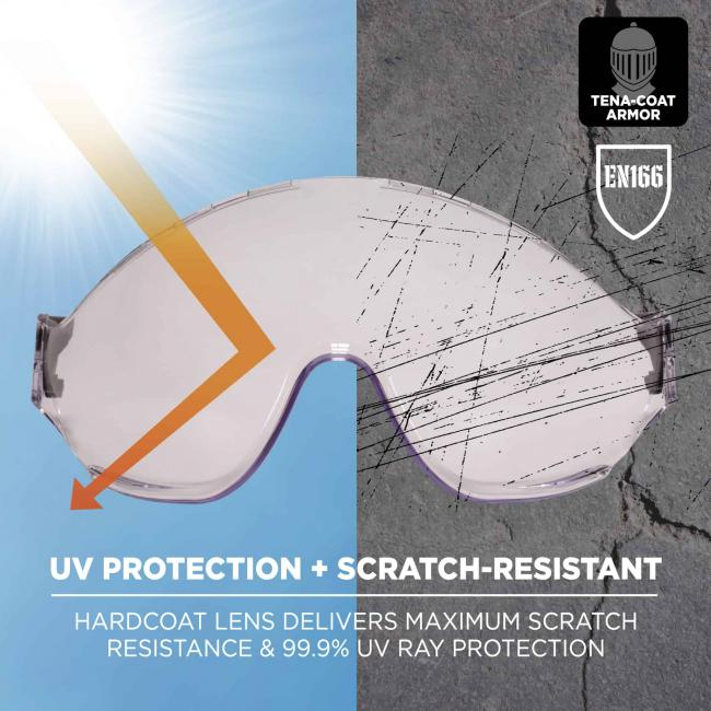 "UV Protection + scratch-resistant: hardcoat lens delivers maximum scratch resistance & 99.9% UV ray protection. Icons on top right say ""Tena-Coat Armor"" and ""EN166"""