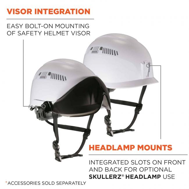 Visor integration: easy bolt-on mounting of safety helmet visor. Headlamp mounts: integrated slots on front and back for optional Skullerz Headlamp use. Accessories sold separately
