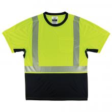 GloWear® 8283BK Lightweight Performance Hi-Vis T-Shirt - Type R, Class 2, Black Bottom