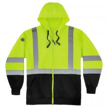 GloWear 8372 Class 3 Zip-Up Hi-Vis Hooded Sweatshirt - Black Front