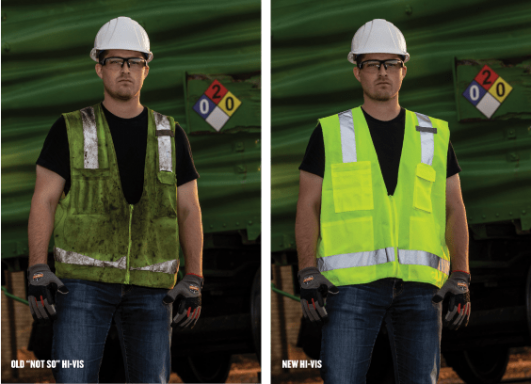 Old hi-vis vest compared to a new hi-vis vest