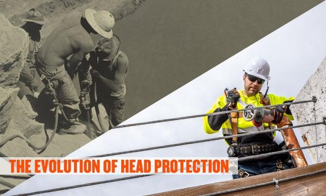 The evolution of head protection. Image on left shows vintage photo worker in early hard hat, image on right shows worker in modern hard hat